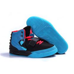 Nike Yeezy 2 черный с голубым